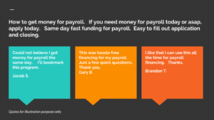 How to get money for payroll asap. Fast payroll financing.