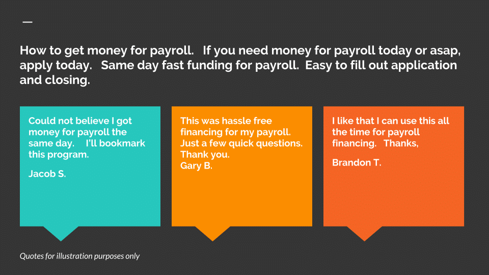 How to get money for Payroll • Small Business