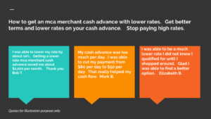 How to get an mca merchant cash advance with lower rates.