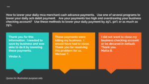 How to lower daily mca merchant cash advance payments