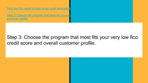 Choose the program that most fits your very low fico credit score and overall customer profile