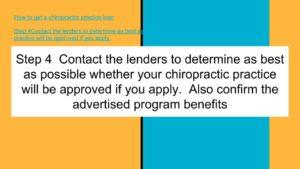 Chiropractor practice loan