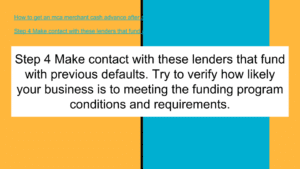 Make contact with these default lenders that fund with previous defaults.