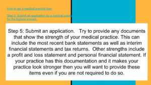 apply for a medical practice loan