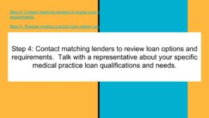 Contact matching lenders to review medical practice loan options.
