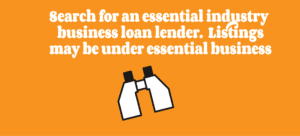 Search for essential industry business loan lenders